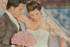 Bruidspaar door Genevieve Lumeij, Fine Art. Portret tekening met pastelpotlood of pastelkrijt