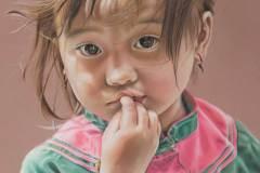 ChineesMeisje door Genevieve Lumeij, Fine Art. Portret tekening met pastelpotlood of pastelkrijt